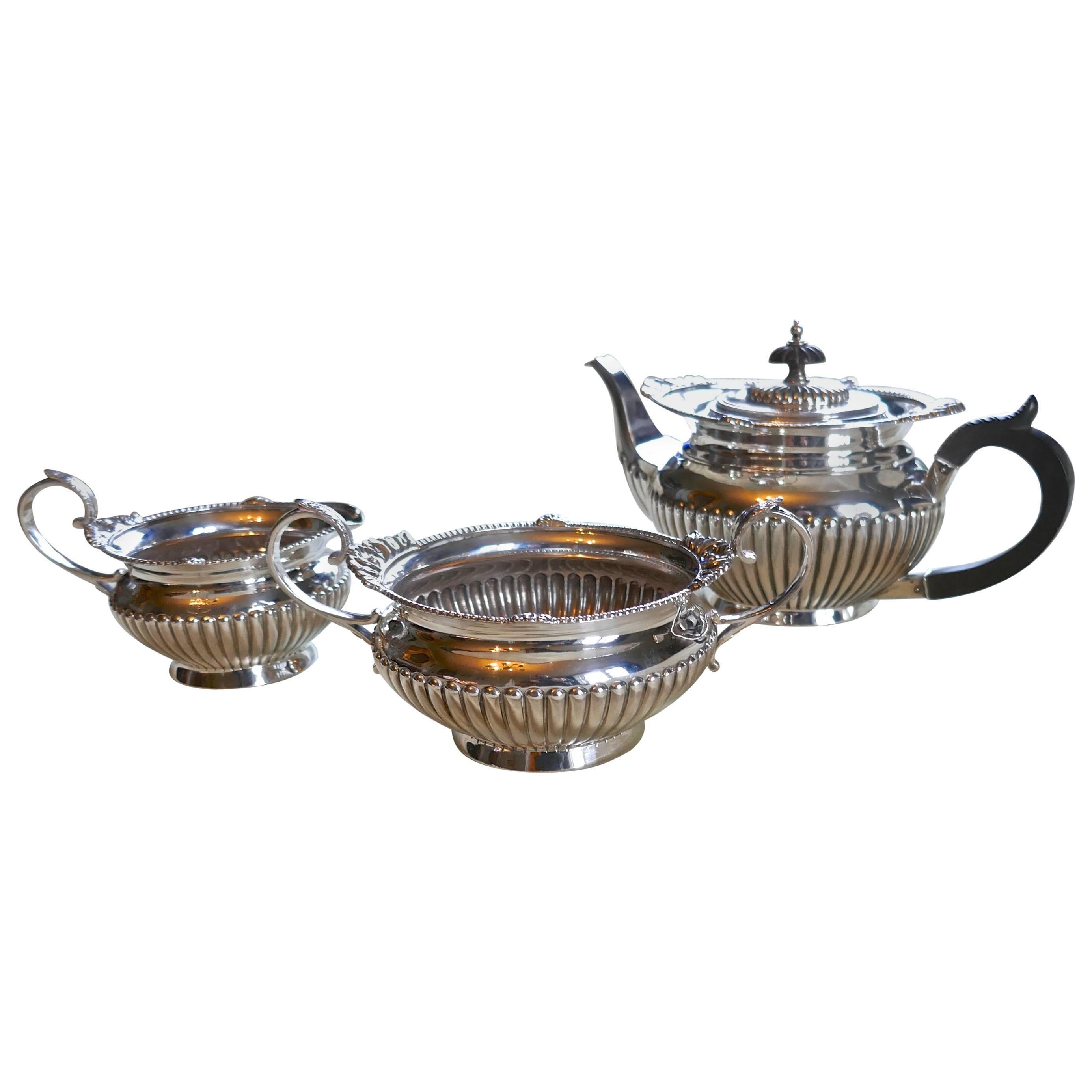 Hallmarked Silver Three-Piece Tea Set by Walker & Hall, Sheffield, 1894