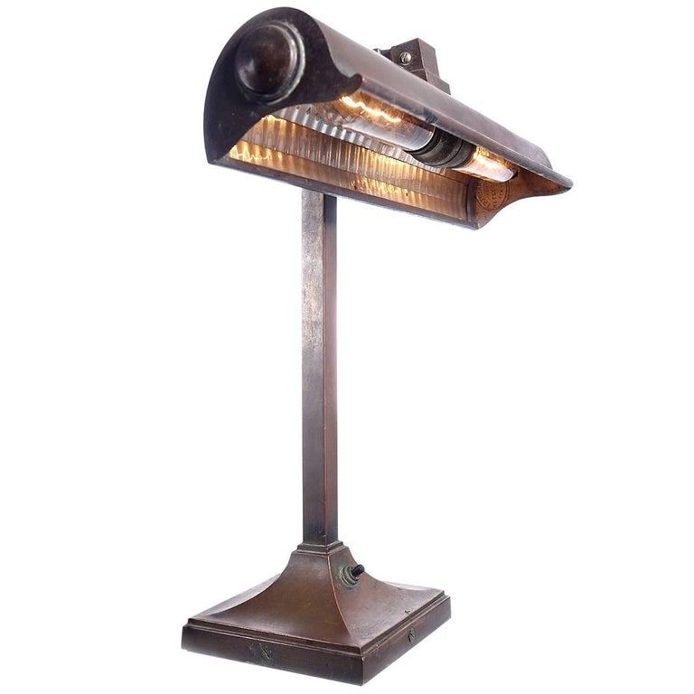 Original Mirrored Frink Bronze Bank Table Lamp