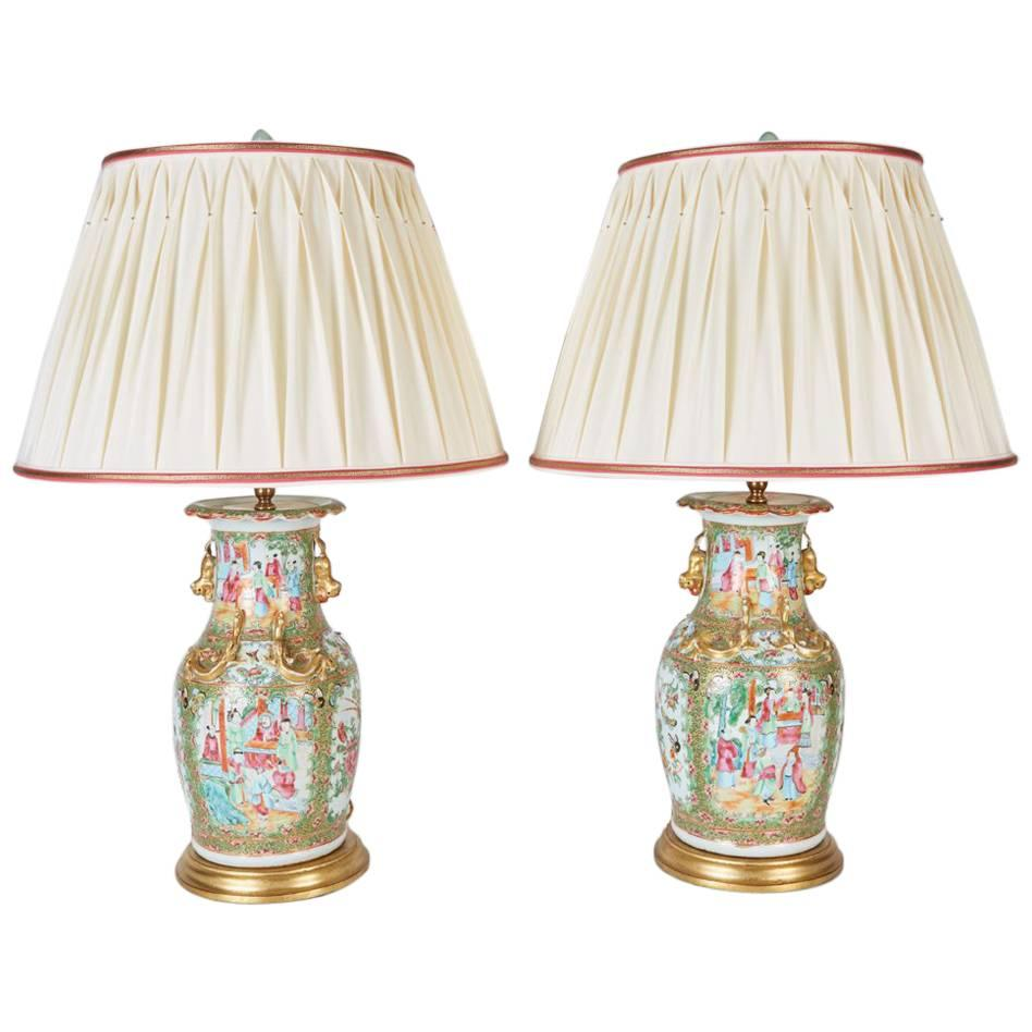 Pair of Antique Chinese Export Rose Mandarin Vases Now Custom Mounted as Lamps