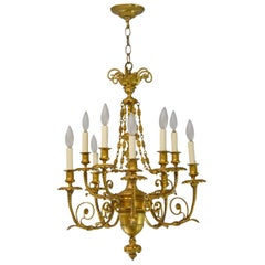 French Style Ten-Arm Bronze Gold Doré Chandelier Rose Swag Details