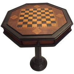 Handsome Octagonal Checkerboard Side Table