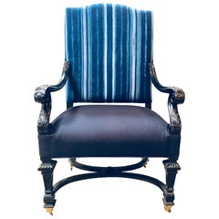 Armchair Covered in Indigo Textile