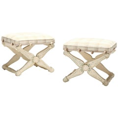 Pair of French Empire or Neoclassical Style Painted Footstools or Tabourets