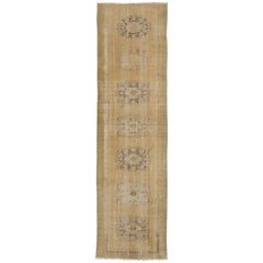 Distressed Antique Oushak Runner in Neutral Colors
