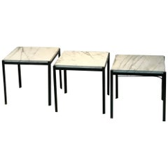 Nesting Tables Set of Three Marble Tops Iron Base
