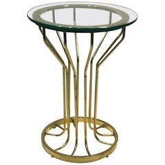 Brass Cage Design Side Table in the Style of Milo Baughman