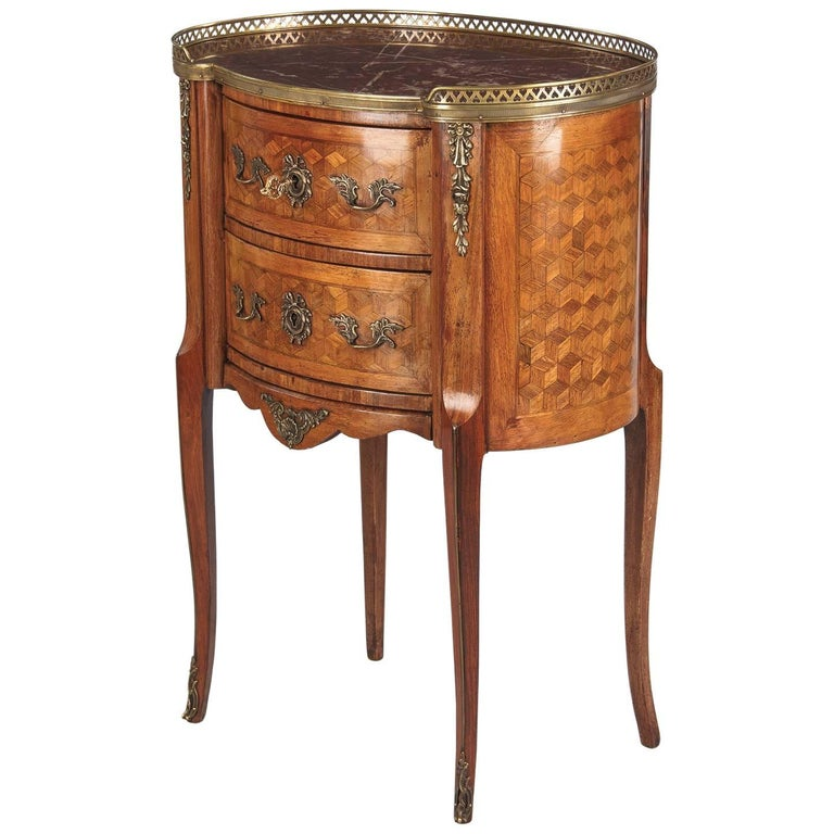 Louis XV-Louis XVI Transition Marquetry Chest with Marble Top, 1900s 1