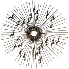 Sunburst with Birds Wall Sculpture by Curtis Jere