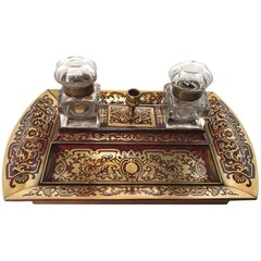 Napoleon 111 Boulle Cut Brass and Scarlet Inkstand