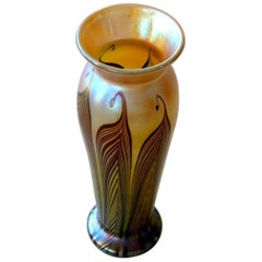Pulled Feather Art Glass Vase by Lundberg Studios