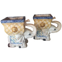Pair of Vintage Elephant Garden Planters Pots Stands Italian Lattice Palm Beach
