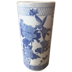 Vintage Umbrella Stand Blue and White Greek Key Chinoiserie Birds Chinese