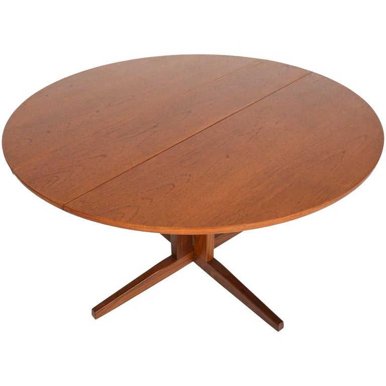 Danish Modern Teak Round Drop-Leaf Dining Table