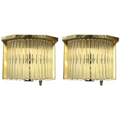 Sciolari Italian Brass and Glass Rod Sconces