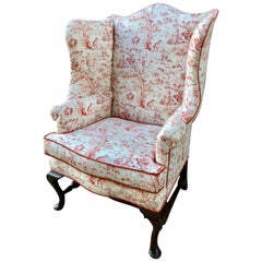 English Queen Anne Style Mahogany Wingback Chair
