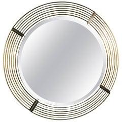 Brass Circular Mirror Signed Curtis Jere