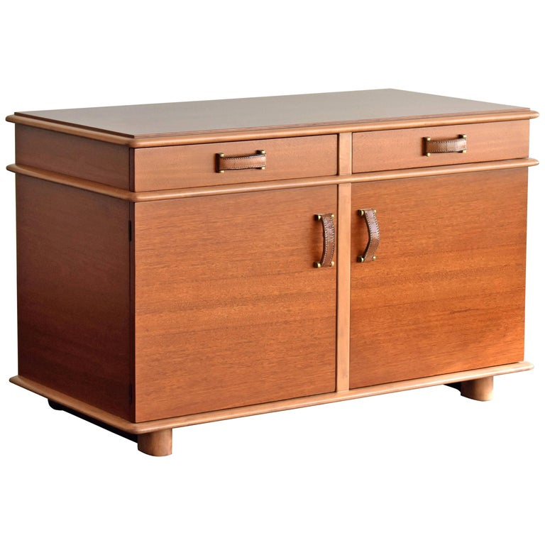 Paul Frankl, Station Wagon Cabinet, Mahogany, Natural Leather Brass Grips, 1945