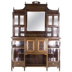 Antique Display Cabinet Victorian Mirror Back Cabinet, Scotland 1870, B693
