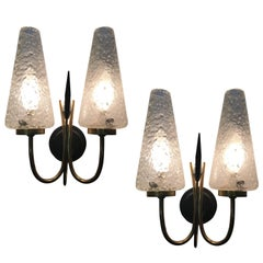 French 1950s Textured Glass and Brass Sconces, Pair