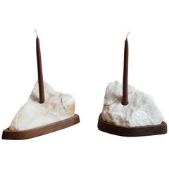 """Contour"" Marble and Walnut Candleholders, Pair"