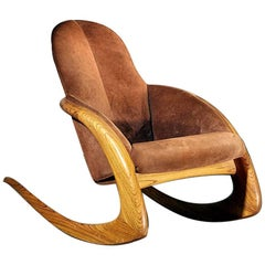 Crescent Rocker by Wendell Castle in Rare Zebra Wood