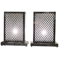Pair of Rectangular White Brass Table Lamps