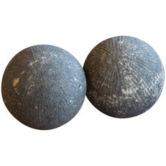 Pair of 19th Century Carved Stone English Balls