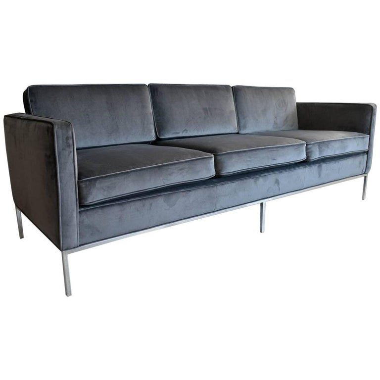 Charcoal Grey Velvet Three-Seat Sofa with Chrome Base, circa 1970
