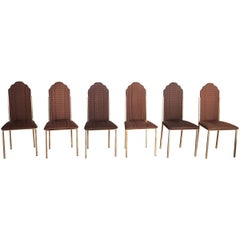 Set of Six Dining Chairs Designed by Alain Delon for Maison Jansen