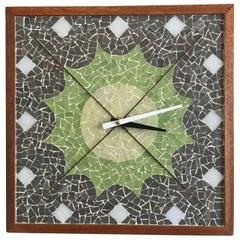 1960s Modernist Square Terrazzo Tile Clock