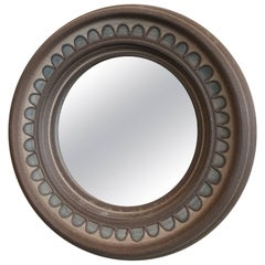 1960s Danish Modern Round Ceramic Mirror
