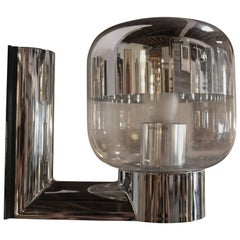 1970s Chromed and Glass Wall Sconce by Staff, Germany