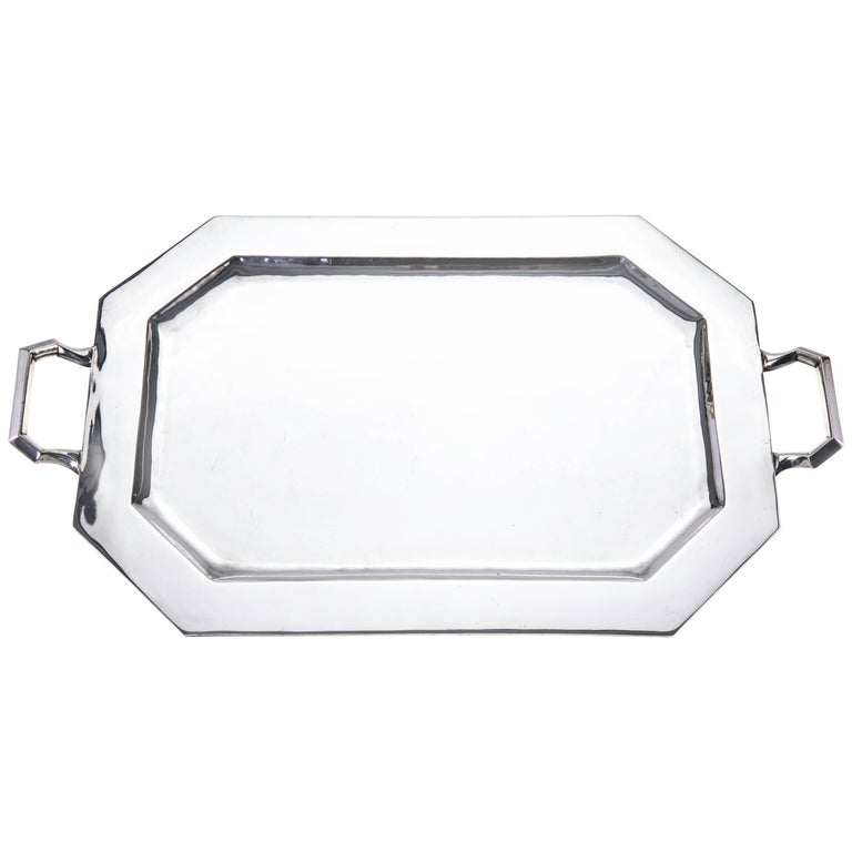 Large Modern Sterling Silver Tray