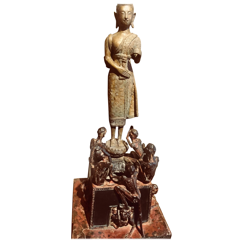 Buddhist Monk Phra Malai Thailand Statue Lotus Sculpture Bronze For ...