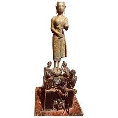 Buddhist Monk Phra Malai Thailand Statue Lotus Sculpture Bronze