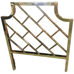 Brass Chinese Chippendale Twin Size Headboard Hollywood Regency