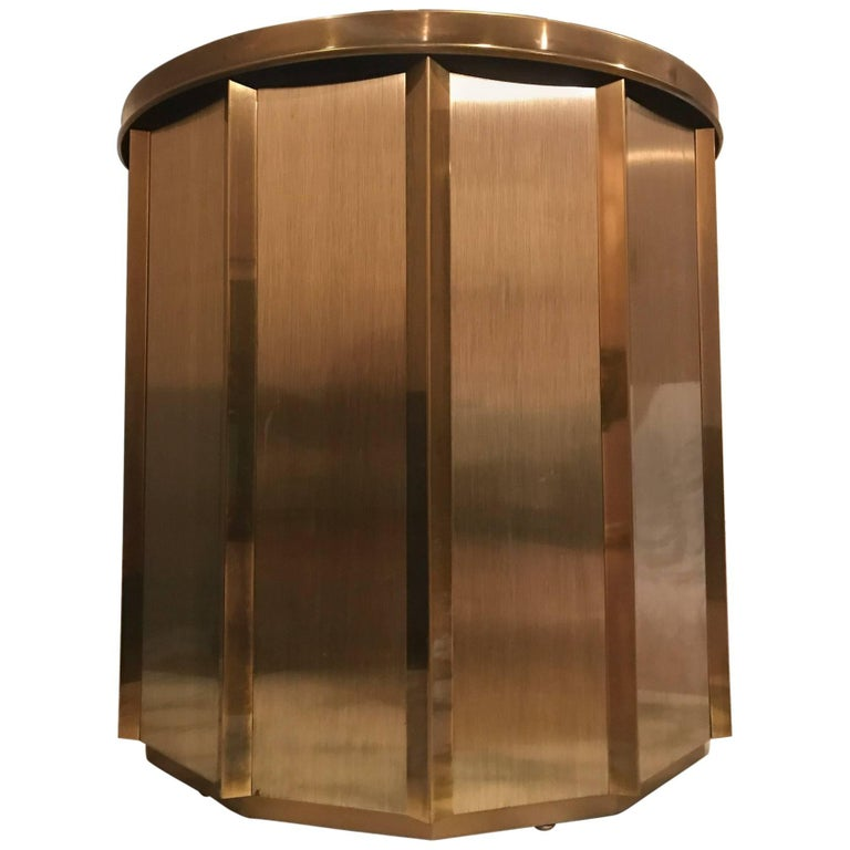 Brushed Brass Mastercraft Monumental Geometric Polygon Dyhedral Dining Table