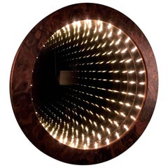 Burl Wood Circular Infinity Mirror by Merit