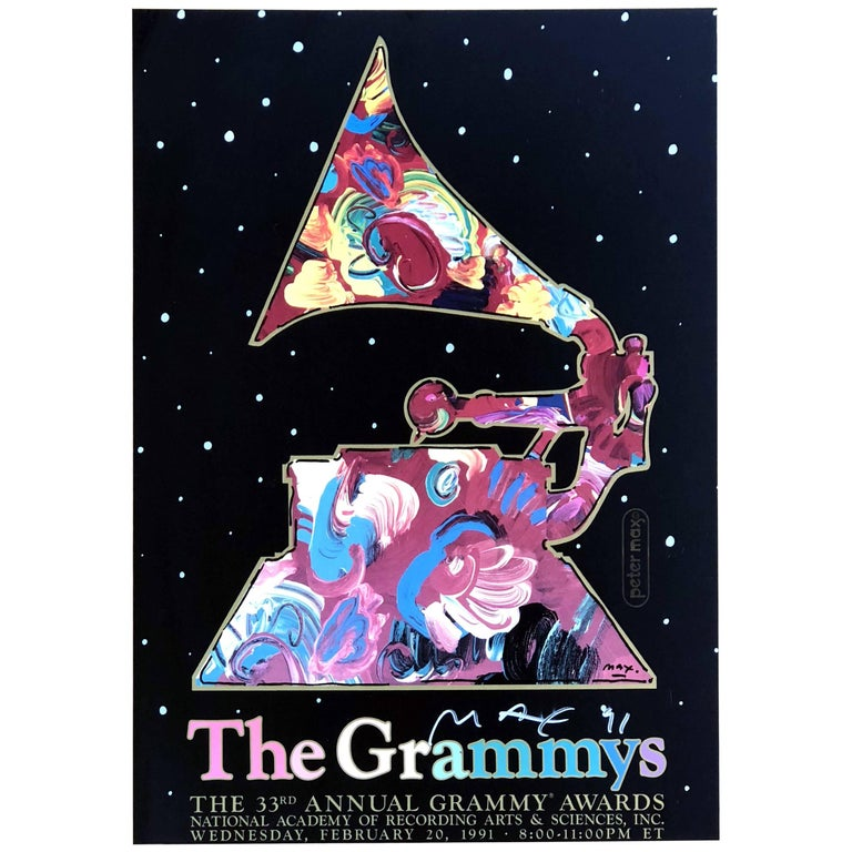 "Signed Vintage Peter Max ""The Grammy Poster,"" 1991"