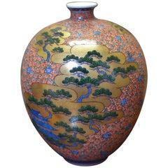Hand-Painted Gold Green Porcelain Vase by Japanese Master Artist