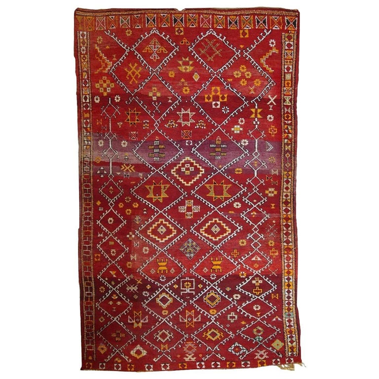 Handmade Antique Moroccan Berber Rug, 1910s For Sale At