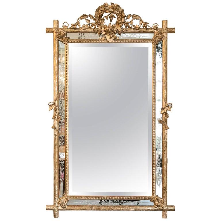 19th Century French Giltwood Faux Bois Cushion Mirror