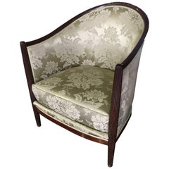 20th Century Round Top Armchair in Silk Upholstery
