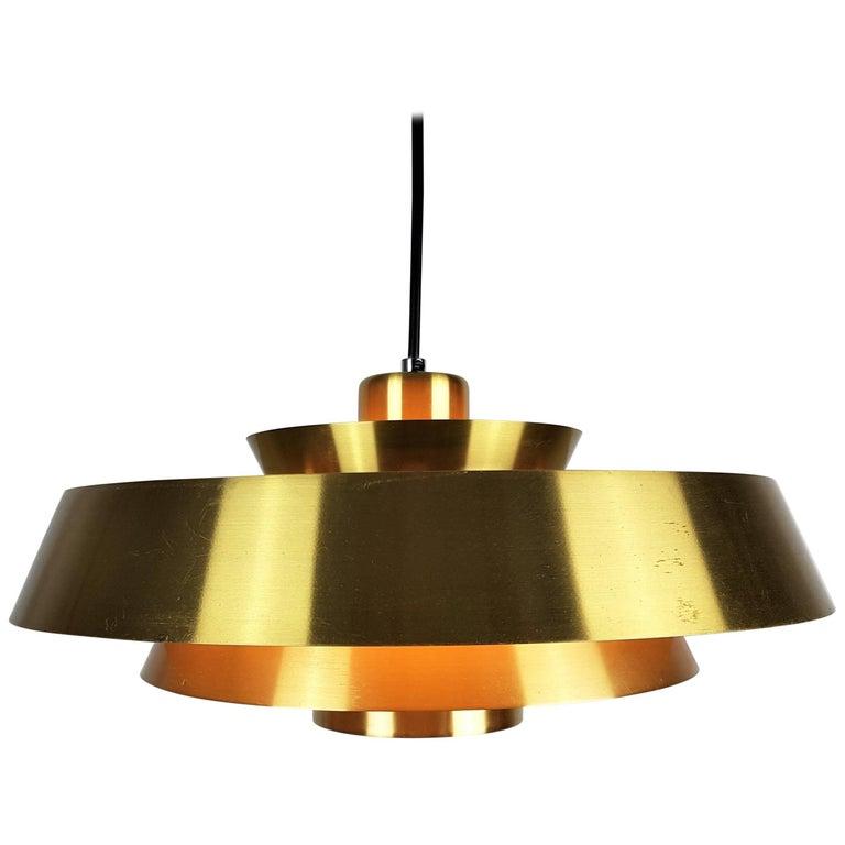 Jo Hammerborg Nova Pendant Light in Brass for Fog & Mørup, Denmark, 1960s