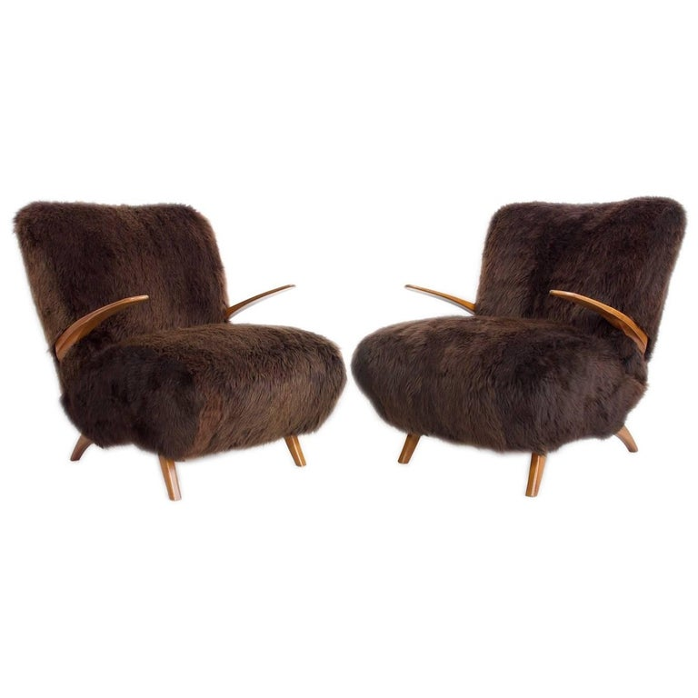 Pair of Armchairs with Wood Frame and Padded with Brown Sheepskin
