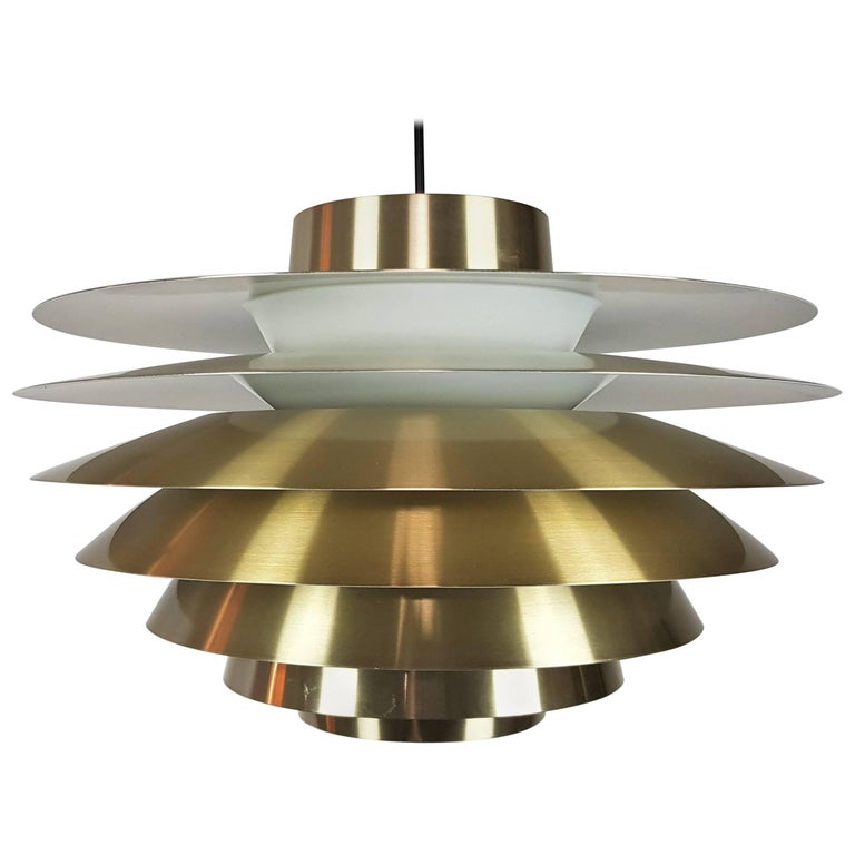 Large Brassed Svend Middelboe Verona Pendant Light