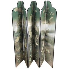 Outstanding Six Panel Double-Sided Asian Screen or Room Divider, Silver Leaf