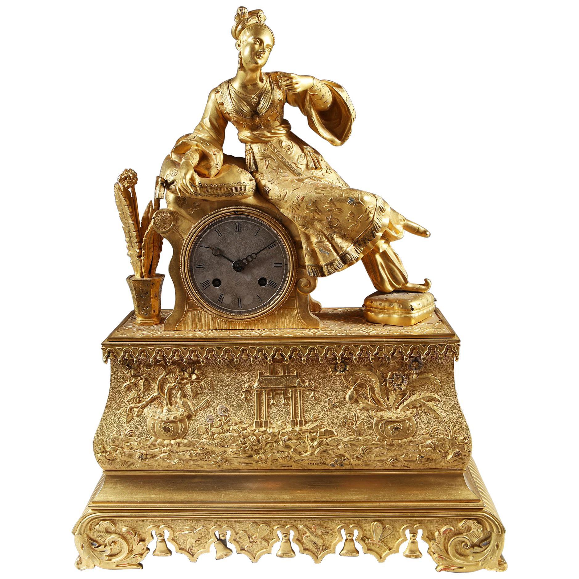 French Gilt Bronze Ottoman Chinoiserie Mantel Clock