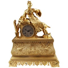 French Gilt Bronze Ottoman Chinoiserie Mantel Clock