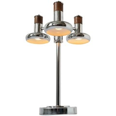 1970s Three Heads Chrome Table Lamp with Walnut Insert, USA